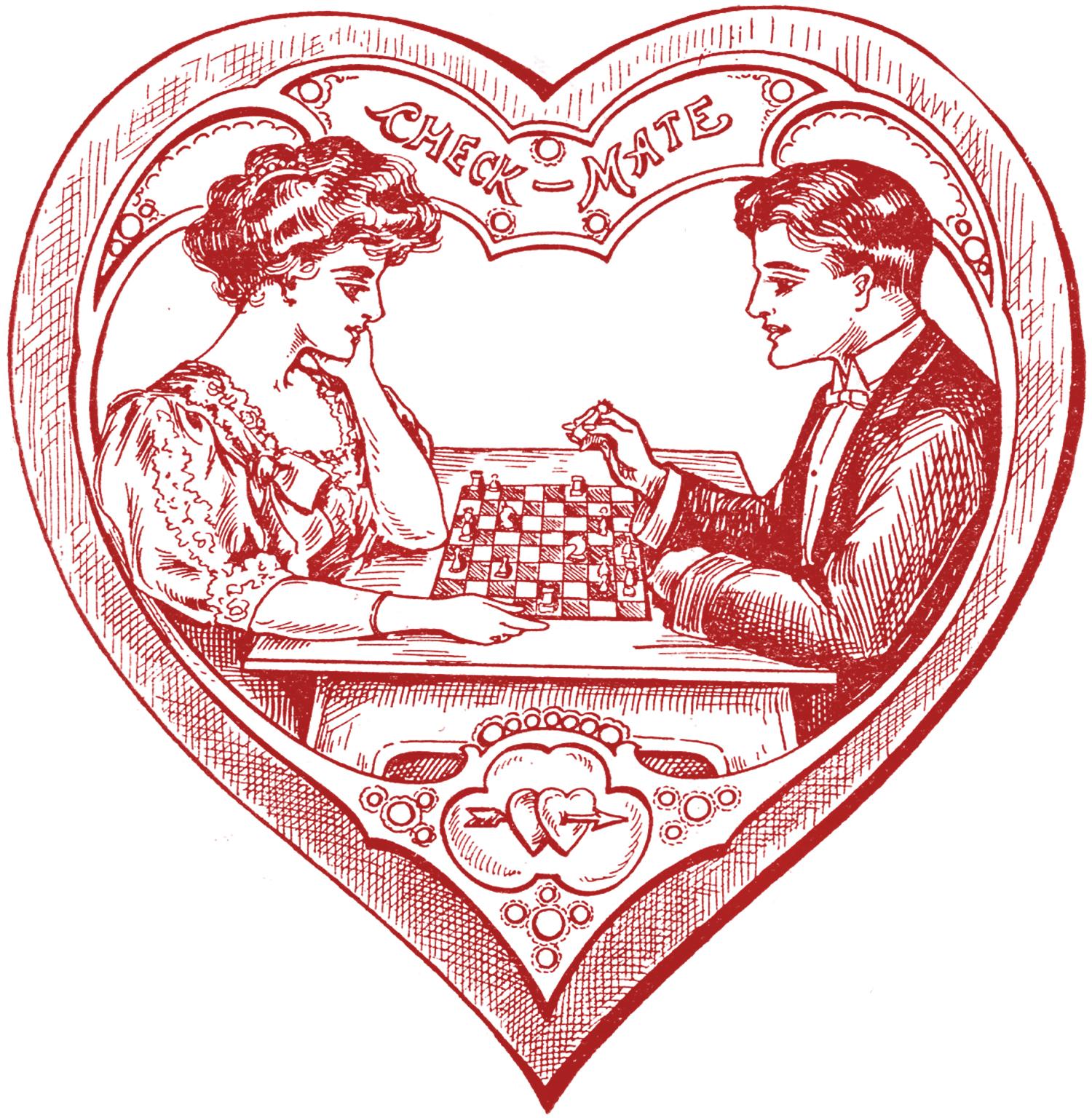 Sjakkmatt! Denne fine tegningen er fra 1907.