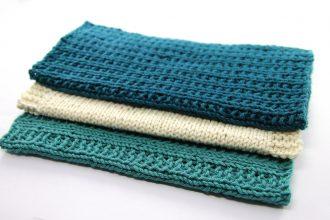 tre kluter som er enkle å strikke