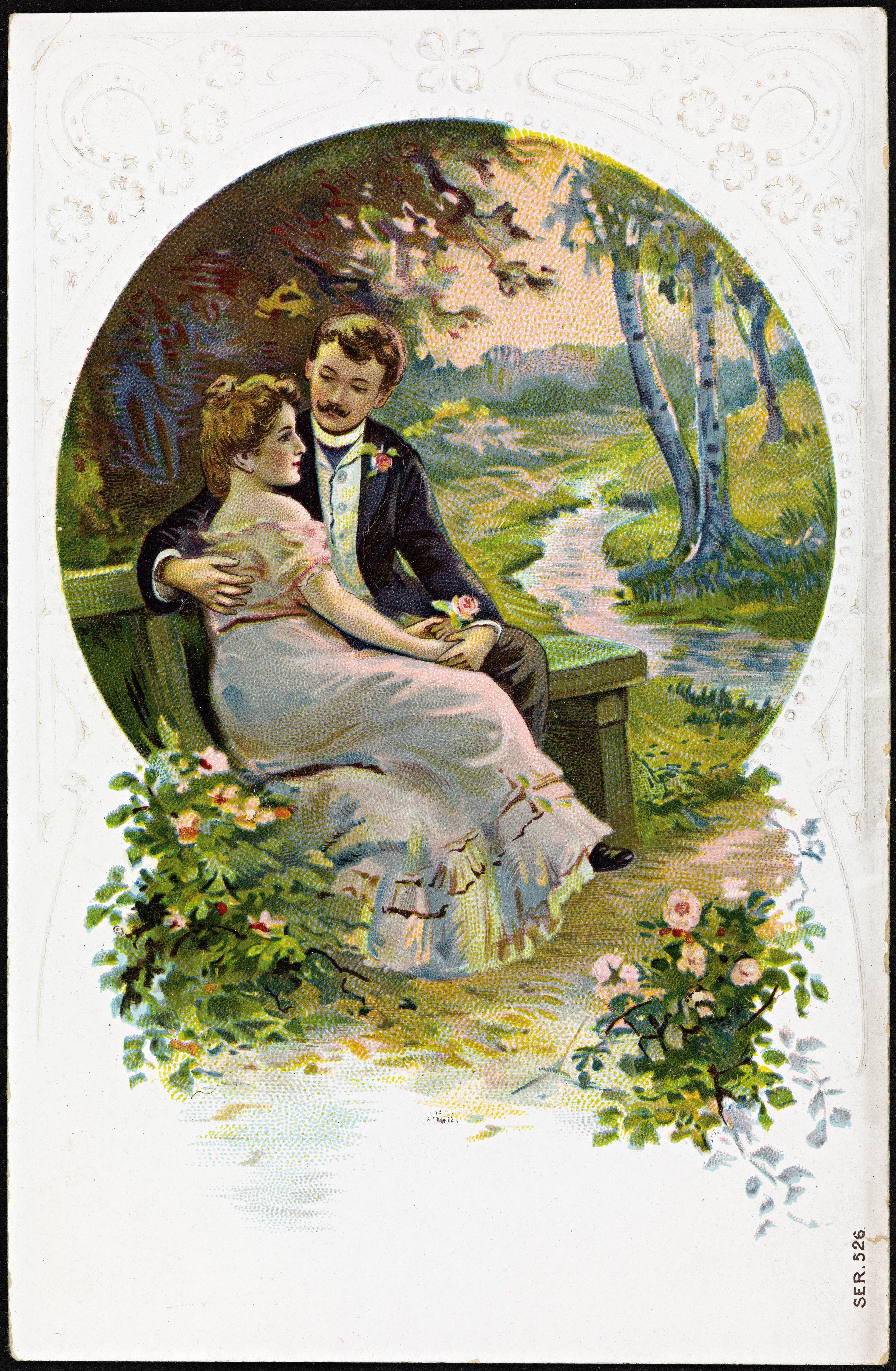 Også dette nydelige bildet av et par på date i naturskjønne omgivelser, er delt av Nasjonalbiblioteket. Det er ukjent når det er fra.