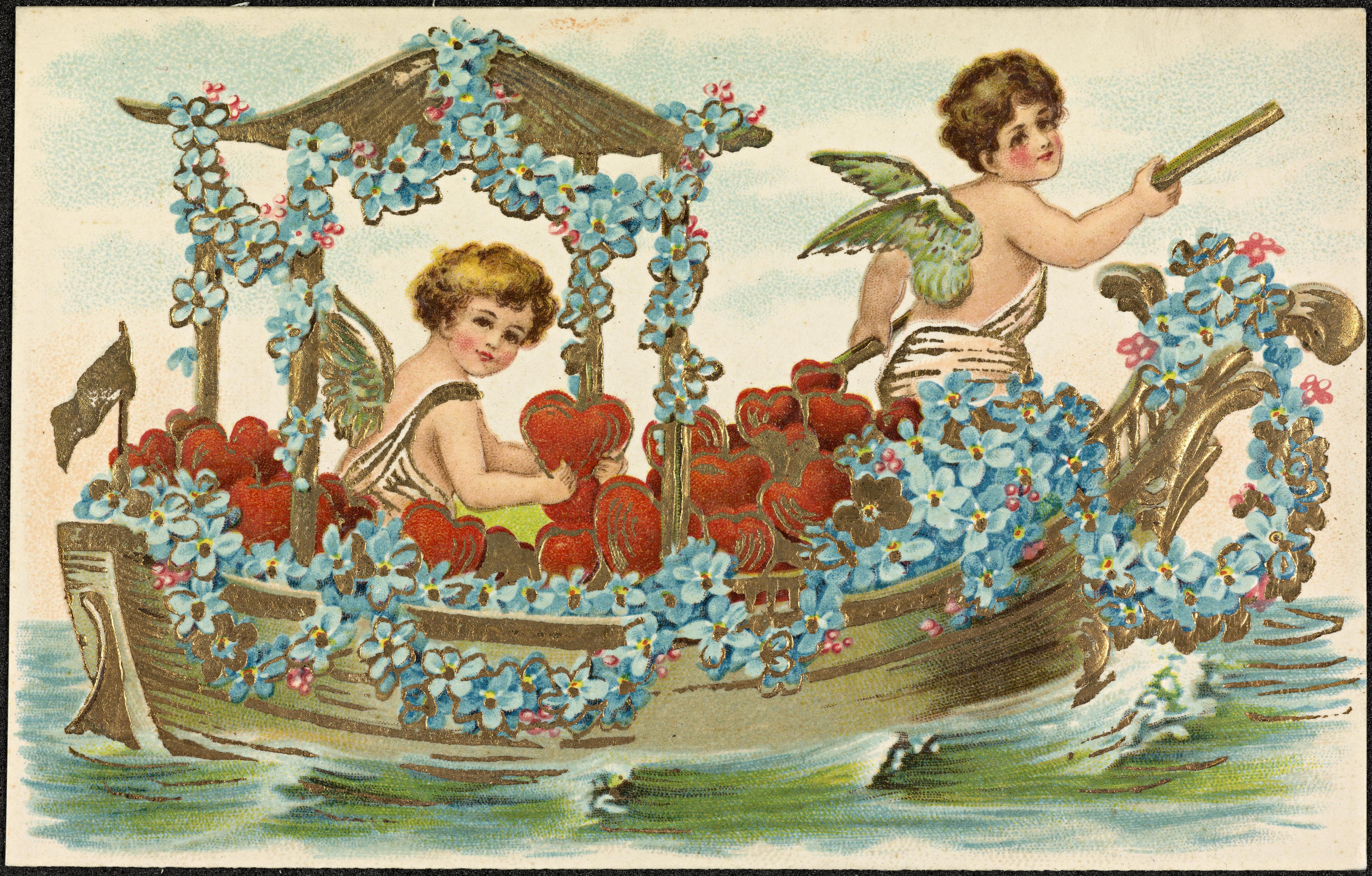 Disse to cupidofigurene i en båt fylt av hjerter og blomster, er delt av Nasjonalbiblioteket. Det er ukjent når de er fra.