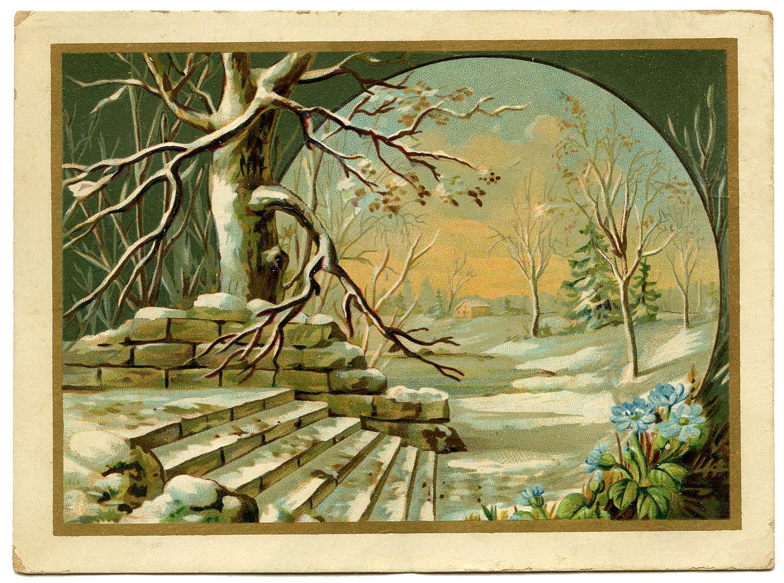 VÅRLIG: På dette gamle postkortet spretter de første blå blomstene opp allerede, så vi burde kanskje spart det til mars/april ... Men en vakker vinterscene, det er det!